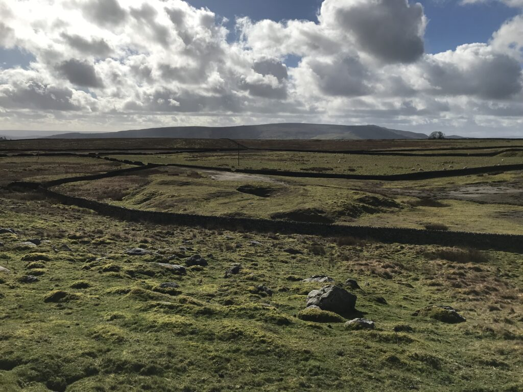 Nixon's shaft and horse whim can be observed on the far side of the dry stone wall